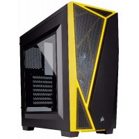 CORSAIR MID TOWER CABINET (ATX) - SPEC 4 BLACK/YELLOW WITH TRANSPARENT SIDE PANEL