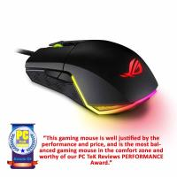 ASUS ROG PUGIO AMBIDEXTROUS WIRED GAMING MOUSE - (7200DPI, OMRON SWITCHES, OPTICAL SENSOR, AURA RGB LIGHTING)