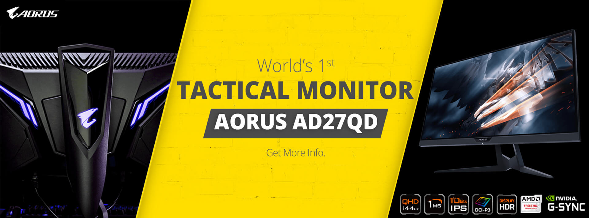Buy Gigabyte Aorus AS27QD Tactical Gaming Monitor at Lowest Price India - Mdcomputers.in