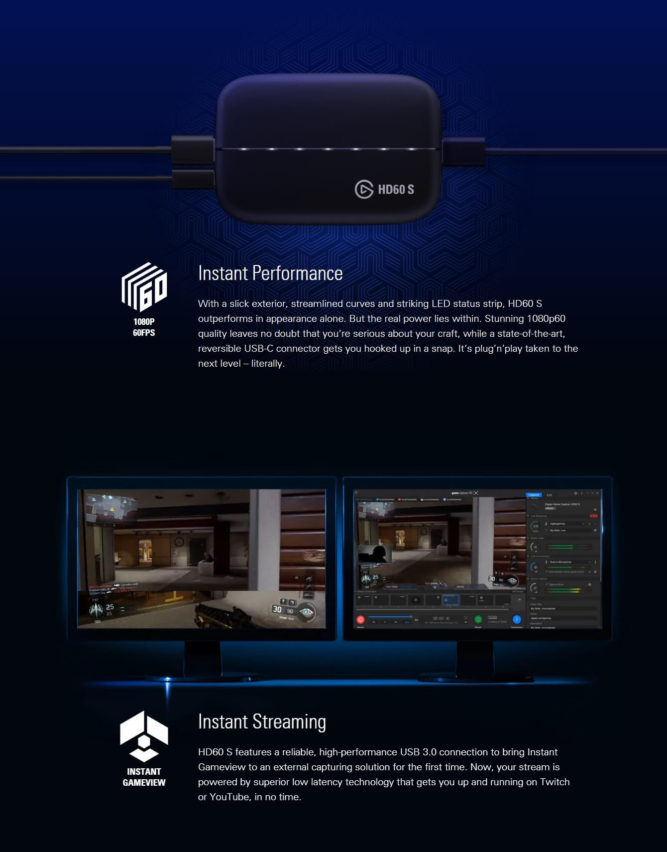ELGATO GAME CAPTURE HD60 S CAPTURE CARD FOR STREAM AND RECORD INSTANTLY