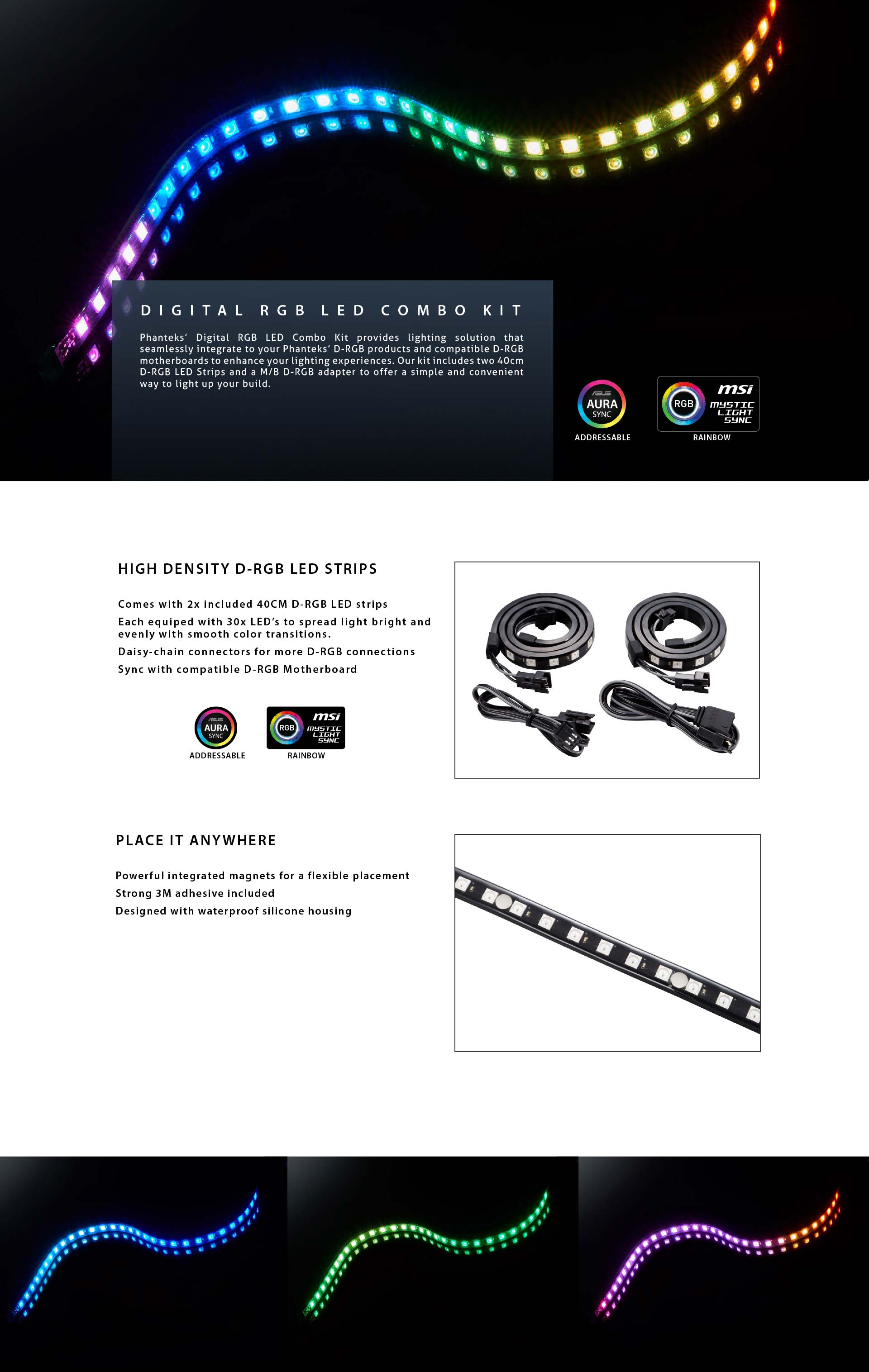PHANTEKS DIGITAL RGB LED Combo Strips (40cm x 2)