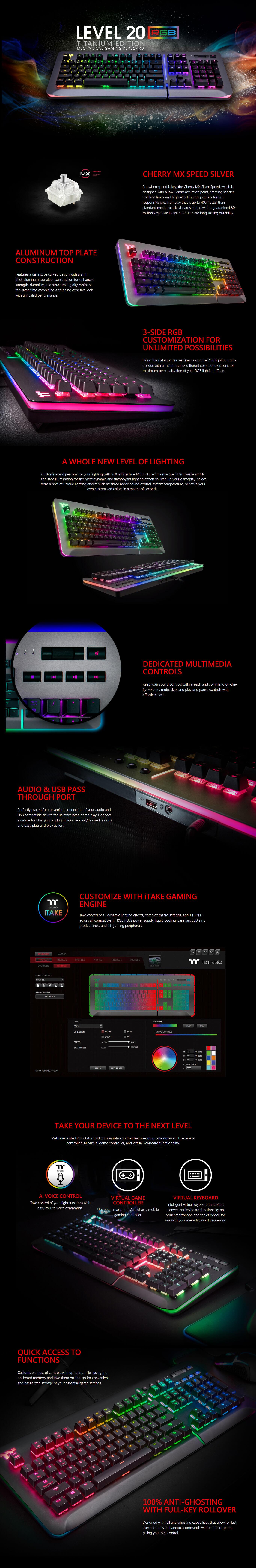 Thermaltake Level 20 RGB Titanium Cherry MX Speed Silver Switches