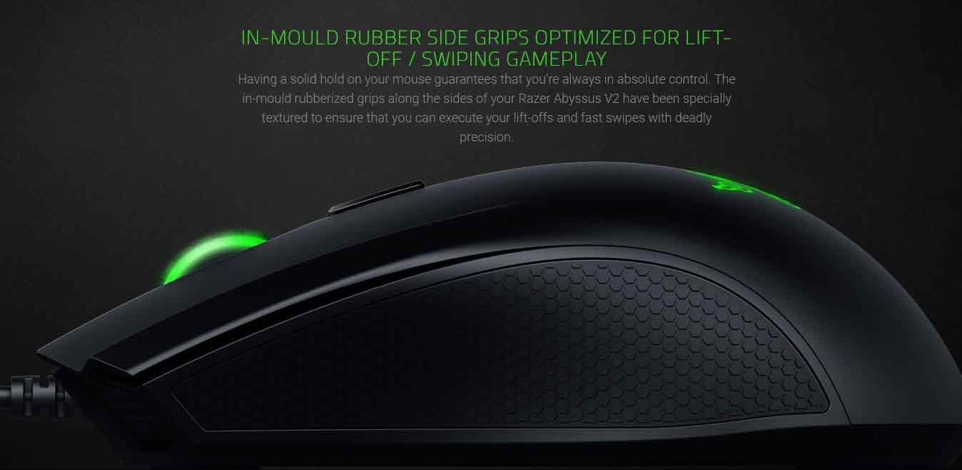 IN-MOULD RUBBER SIDE GRIPS OPTIMIZED FOR LIFT-OFF / SWIPING GAMEPLAY