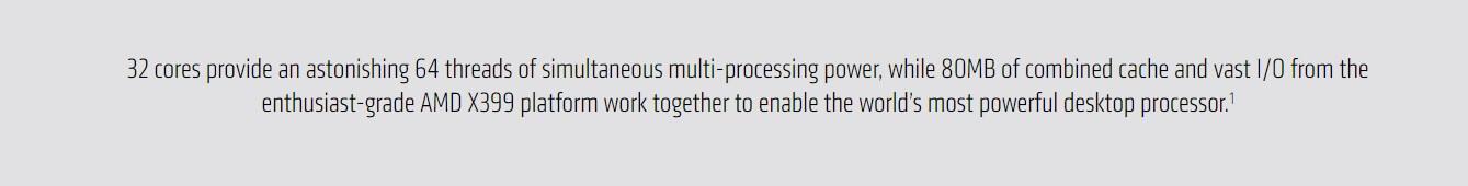 AMD RYZEN THREADRIPPER 2990WX 2nd Generation Desktop Processor - (32 Core,  Up To 4 2 GHz, TR4 Socket, 80MB Cache)