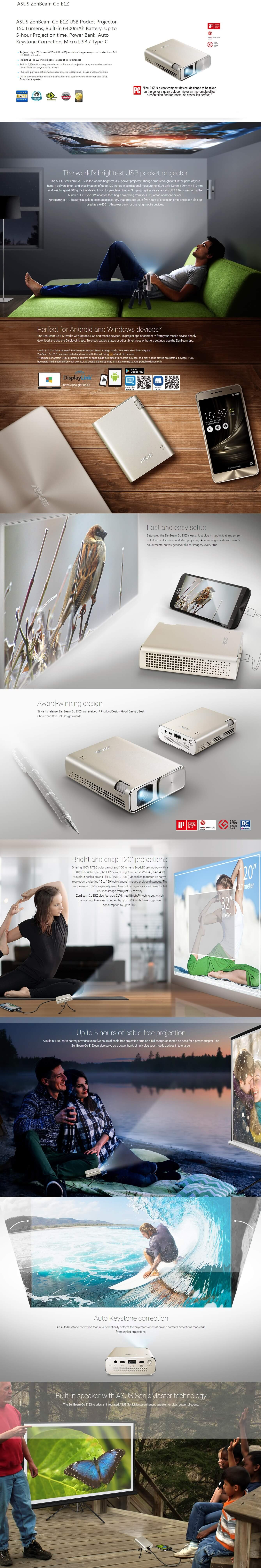 ASUS ZENBEAM GO E1Z USB POCKET PROJECTOR